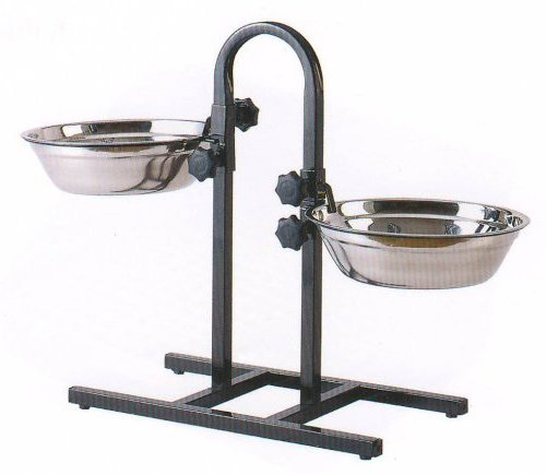 3-Quart or 5-Quart Adjustable Double Wrought Iron Chew Free Stainless Steel Dog Cat Pet Diner Food Water Bowls (2-Quart)
