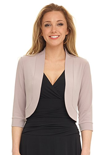 Rekucci Women's Soft Knit Rounded Hem Stretch Bolero Shrug (X-Small,Oyster)