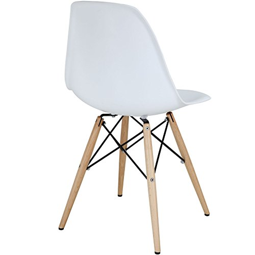 Modway Pyramid Side Chair with Natural Wood Legs in White by Modway (Image #3)