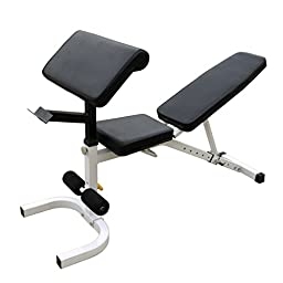 Incline Decline Bench w/ Leg Curl Extension, Mat, Dumbbell Set 3, 5, 8, Lbs