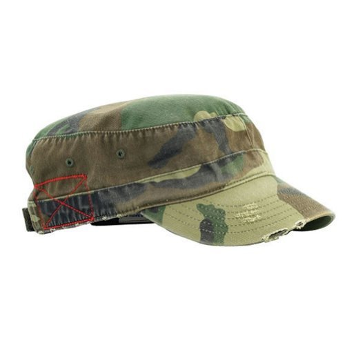 Camo Cap Military Style Cotton - MG Distressed Washed Cotton Cadet Army Cap (Camo)…