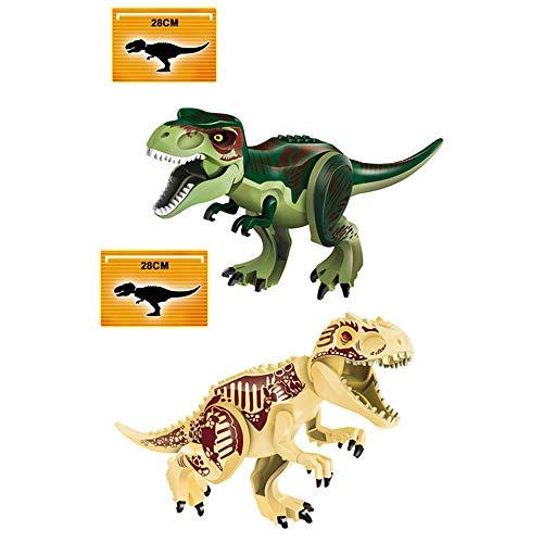 yaning 2Pcs/Set Jurassic World Dino Figures Indoraptor indominus rex Tyrannosaurs Rex Building Blocks Compatible with Lego Dinosaur Toy -  LXB-KL018-gray