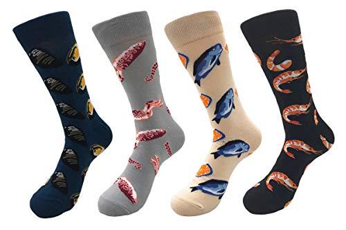- TOSKIP Men's Casual Funny Crazy Novelty Dress Socks 4 Pack Oyster/Cuttlefish/Shrimp/Lemon Fish