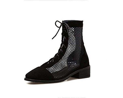 Onfly Cool Boots 4cm Chunkly Heel Mesh Laceup Dress Shoes Mujeres Comforty Round Toe Net Splitter OL Court Shoes Roma Zapatos Ankel Boots Eu Tamaño 34-40 Negro