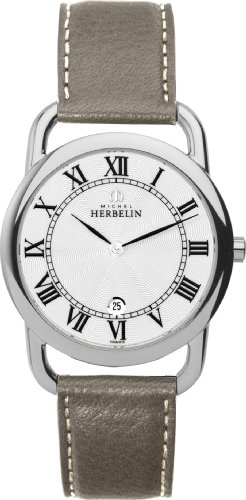 Michel Herbelin Men's Quartz Watch with White Dial Analogue Display and Beige Leather Strap 19467/08TA