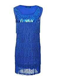 Vikoros Women's S/M Fit Sequined and Fringed 1920s Flapper Inspired Dress