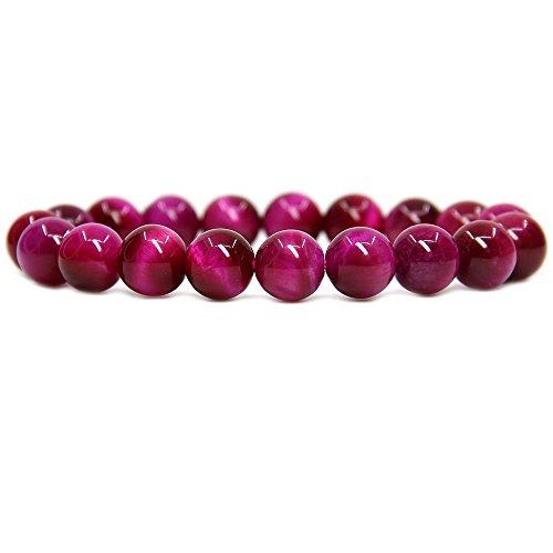 "Amandastone Natural AA Grade Rose Tiger Eye Genuine Semi-Precious Gemstones Healing 10mm Beaded Stretch Bracelet 7"" Unisex"