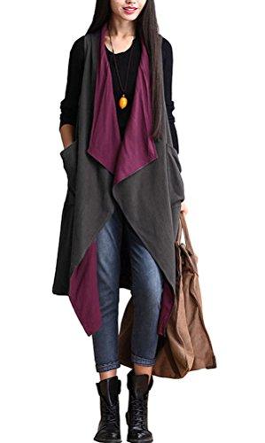 Voguees Damen Sleeveless vordere Öffnung Weste Coat Schnapp Cardigan Rote