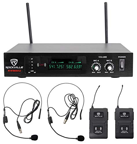 Rockville RWM80U Dual UHF Headset & Guitar Wireless Micropho