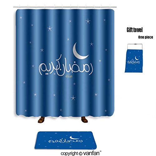 vanfan bath sets with Polyester rugs and shower curtain Arabic Islamic calligraphy of text Ramadan Ka shower curtains sets bathroom 69 x 90 inches&31.5 x 19.7 inches(Free 1 towel and 12 hooks) by vanfan