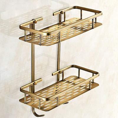 - FidgetFidget Bathroom Wall Mount Two Tier Shampoo Shower Basket Antique Brass Square Shelf
