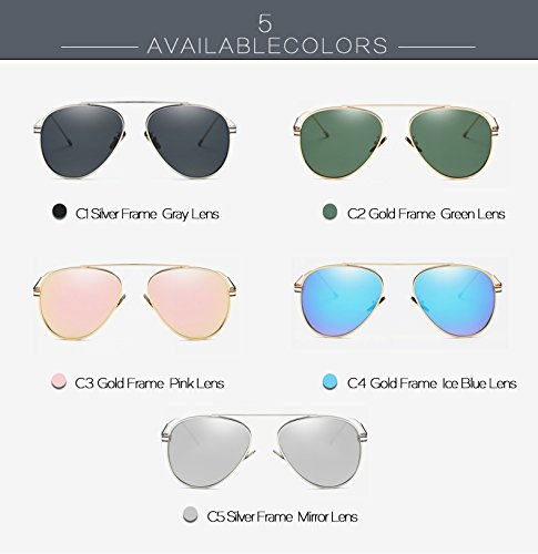 Hombre Sol de Rayos UV400 Azul de Hielo Mujer Gafas Espejo Pynxn Oro Verde del Marco G15 AT9010 Accesorios C4 Aviador C2 de Sol polarizadas RYx6OP