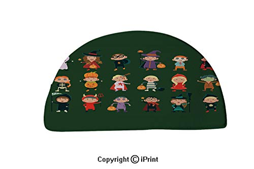 LEFEDZYLJHGO Printed Rug Semi Circle,Semicircle Rug Reversible,Decorative Design,24x16 inch,Flat Vector Set with Cute Children in Festive Costumes Funny Little Boys and Girls Celebrating Halloween -