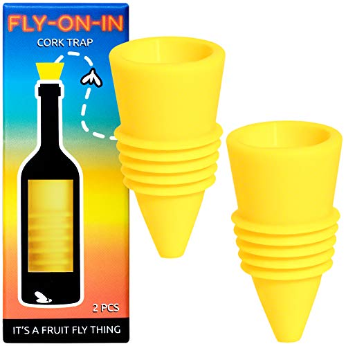 - Fly On In, Fruit Fly Bottle Top Trap - Reusable Non-Toxic Indoor/Outdoor Catcher (Yellow, 2 pcs)