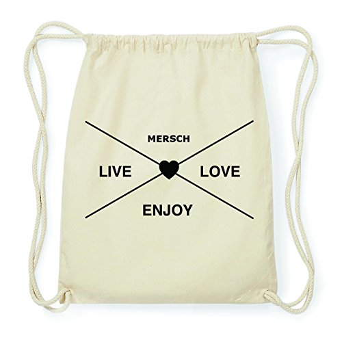 JOllify MERSCH Hipster Turnbeutel Tasche Rucksack aus Baumwolle - Farbe: natur Design: Hipster Kreuz