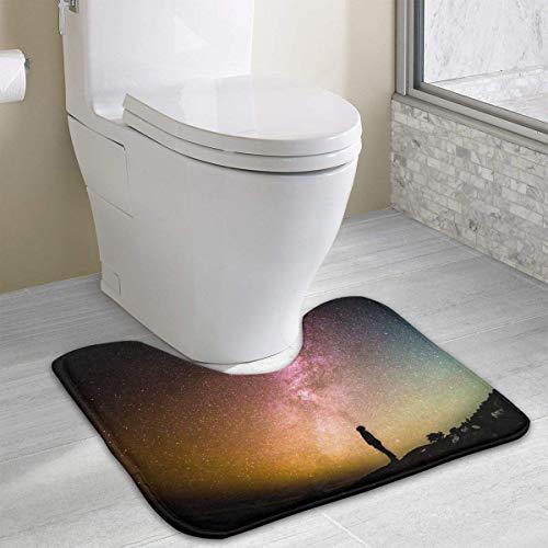 Beauregar Milky Way Contour Bath Rugs,U-Shaped Bath Mats,Soft Memory Foam Bathroom Carpet,Nonslip Toilet Floor Mat 19.2″x15.7″