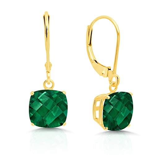 14k Yellow Gold Created Emerald Dangle Leverback Earrings (8mm)