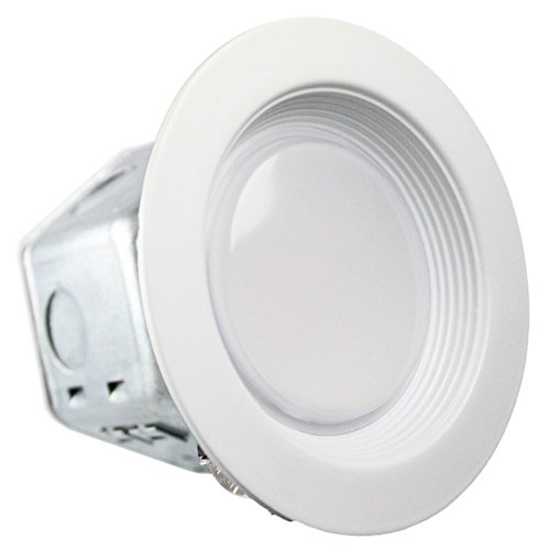 Luxrite 10W 4 Inch Junction Box LED Downlight, 5000K Bright White, 60W Equivalent, CRI90+, ENERGY STAR, 120V-277V, Dimmable, Wet Rated, 800 Lumen, Retrofit LED Recessed Lighting Fixture, 1-Pack