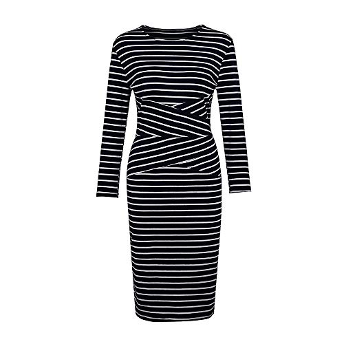 Landfox Dress, Three Quarter Sleeve Sweatshirt,Women's Striped Work Wear Business Cocktail Pencil Dress -