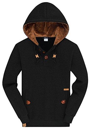 Wantdo Men's Plus Sizing Pullover Hoodie Lightweight Slim Sweatshirt Sports Hooded Jacket, Black, 2XL (Lightweight Slim Pullover)