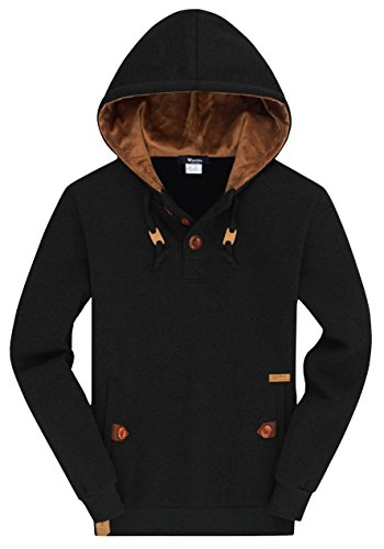 Wantdo Men's Plus Sizing Pullover Hoodie Lightweight Slim Sweatshirt Sports Hooded Jacket, Black, 2XL
