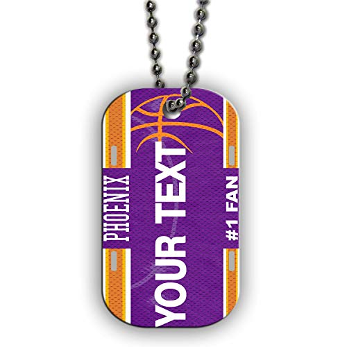 BRGiftShop Personalize Your Own Basketball Team Phoenix Single Sided Metal Military ID Dog Tag with Beaded Chain