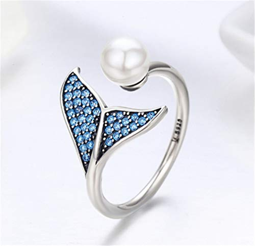 LOSOUL Mermaid Tail Ring, S925 Sterling Silver Dolphin Tail Adjustable Finger Ring for Women Girls Open Ring with Blue Cubic Zirconia& Shell Pearl