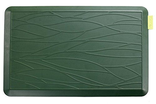 NUVA Kitchen Antislip Anti-fatigue Mats Antimicrobial >99.9%, Non-toxic Odor, Water Resistant, 30x20x0.75 inch., Various sizes & colors, Commercial Grade:10 years Warranty(Grass Green, Wave Pattern) by Nuva