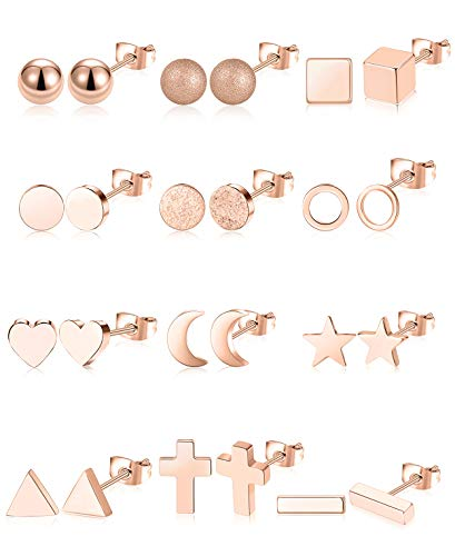 Tornito 12 Pairs Stainless Steel Stud Earrings Geometric Earring Set for Women Men Heart Triangle Square Cross Star Moon Mini Bar Ball Stackable Earring Rose Gold Tone