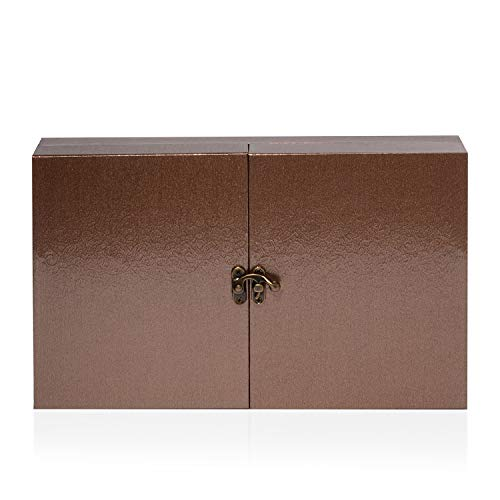 (Bromze Leatherette Paper Double Door Ring Box with Latch Closure 11.4x7.3x2