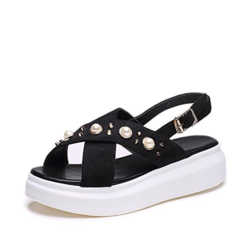 ZPPZZP Ms sandali piatta estate stile Coreano spessa piatta nero 35EU