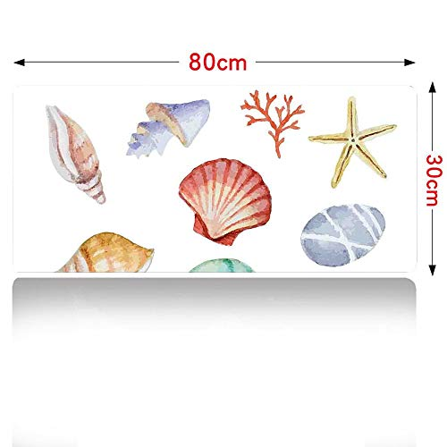 (Nautical Gaming Mouse pad Collection of Different Type Seashells Scallop Mollusk Summer Exotic Creatures Animals Mouse Pad Large Size 800x300mm Multi 32×12in)
