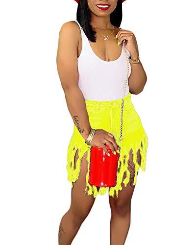 Uni Clau Denim Shorts for Women Casual Outfit - Tassel Hem Sanding Short Pants Yellow (Best Uni Denim Jeans)