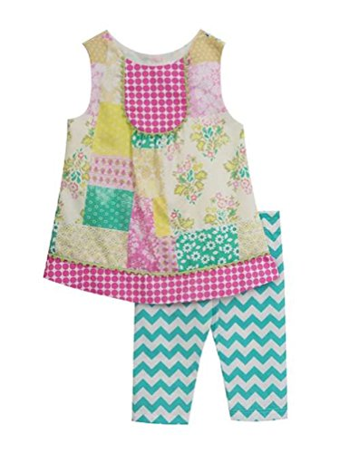 Rare Editions Counting Daisies Pink Patchwork Capri Set (12m-24m) (18 Months)