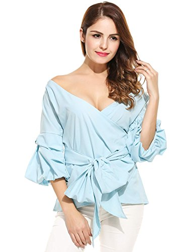 Buy light blue ruffle dress - 4