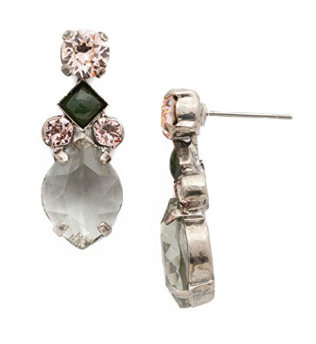 Sorrelli Army Girl Precious Petal Pink Crystal Silvertone Dangle Stud (Sorrelli Designer Earrings)