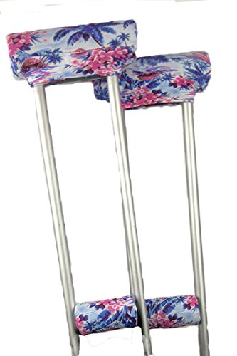 Crutcheze Pink Hibiscus Crutch Pad Set - Underarm & Hand Grip Covers with Comfortable Padding - Crutch Accessories Made In USA (2 Armpit, 2 Hand Cushion)