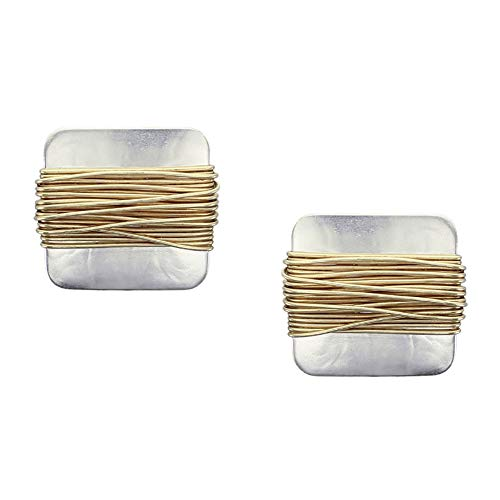 Marjorie Baer Wire Wrapped Square Clip on Earring in Brass and Silver