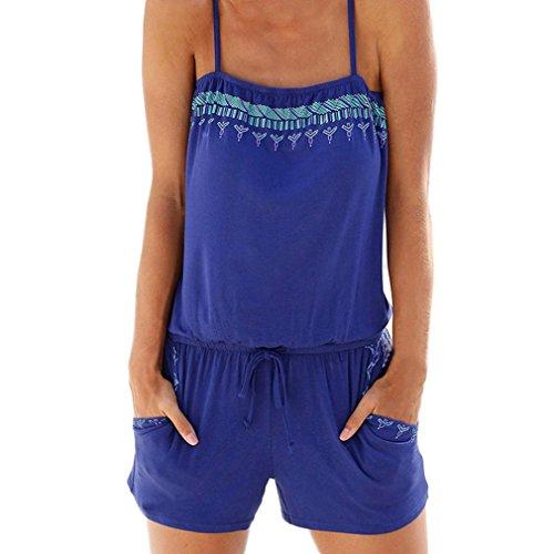 Jumpsuit Taille Vert Short Beach Harnais Dames Poches Impression Femmes Décontracté Définir Adeshop Rompers Holiday Summer Combishort Élastique Lâche Petit Mini HpYw4Zfq