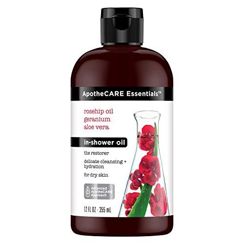 Skin Restorer - ApotheCARE Essentials The Restorer In-Shower Oil, Rosehip Oil, Geranium, Aloe Vera, 12 oz