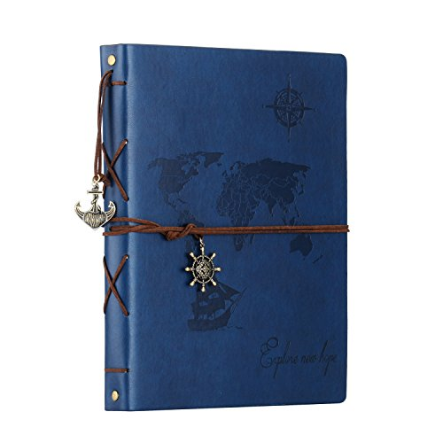 "Scrapbook,SEEHAN Travel Leather Photo Album""World Map""Vintage DIY Self Adhesive Photo Book Retro Sketchbook 60 Pages Unique Valentines Birthday Anniversary Gifts for Father Boyfriend(Map Blue)"
