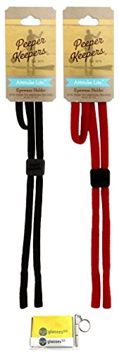 Peeper Keepers Attitube Lite, Black and Red, 2 pack mix, w/Cloth & Screwdriver (Lite Cloth Strap)