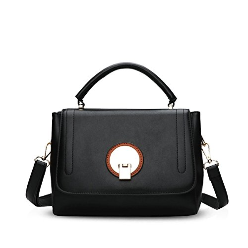 NICOLE&DORIS Elegante Tote Bolsos de Mano para Mujer Monederos Bolso Crossbody Mujer Bolso de Bandolera Pequeña Bolsa PU Negro Negro