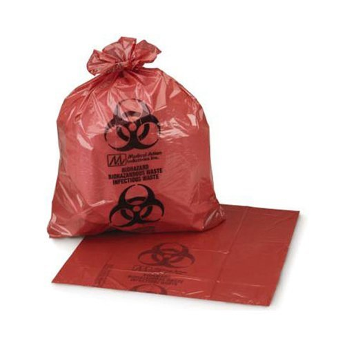 Medegen Medical Products RD610 Red/Black LLDPE Biohazardous Waste Bag with Print, Roll, 1.25 mil Gauge, 11'' x 14-1/4'' (Pack of 200)
