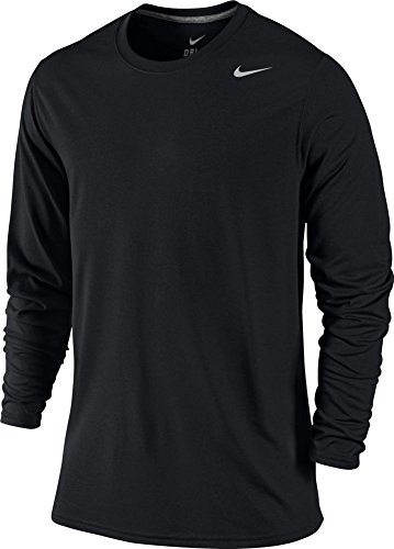 NIKE LEGEND DRI-FIT POLY LONG-SLEEVE CREW (MENS, BLACK) - (Crew Screen Print Jersey)