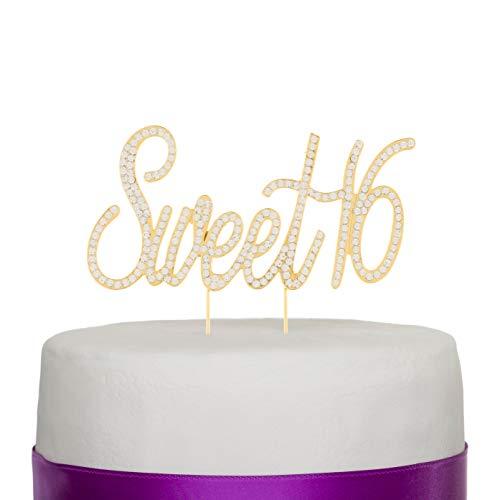 Ella Celebration Sweet 16 Cake Topper Crystal Rhinestone 16th Birthday Party Gold Decoration (Sweet 16