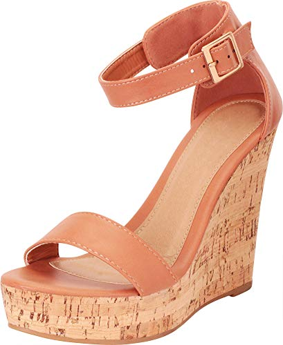 Ladies Designer Sandals - Cambridge Select Women's Single Band Ankle Strap Chunky Platform High Wedge Sandal,7 B(M) US,Cognac PU