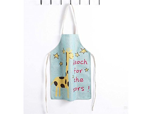Zhisan Barbecue Tool Lovely Cartoon Animal Giraffe Printed Star Letter Apron for Kid Hanging Neck Sleeveless Cotton Linen Child Apron