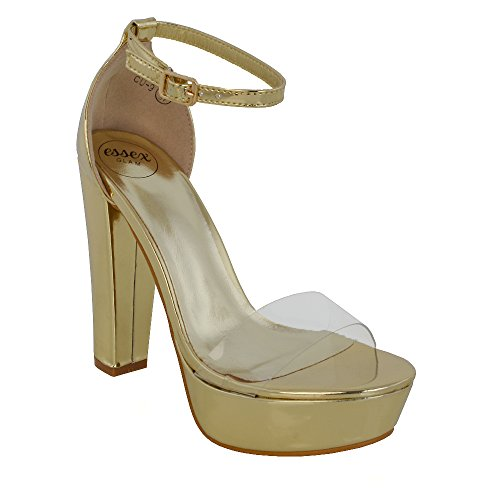 ESSEX GLAM Womens Ankle Strap Clear Platform Ladies Chunky Sole Block Heel Sandals Shoes Gold Metallic JAEA6J4