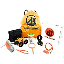 Outdoor Toys for Kids Adventure Kids Outside Children Exploration Kit Binoculars Flashlight Compass Whistle Magnifying Glass Bug Container Backpack Kids Gift Set for Camping Hiking Educational Pretend